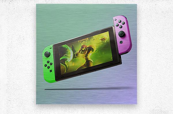 Nintendo Switch Green Pink  Metal print