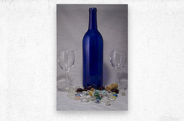 Blue Wine Bottle  Metal print
