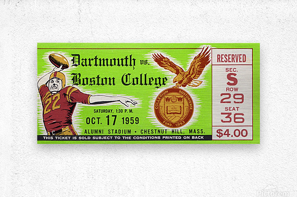 1959 Boston College vs. Dartmouth  Metal print
