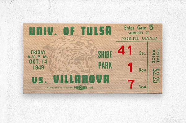 1949 Tulsa vs. Villanova Football Ticket Stub Wall Art  Metal print