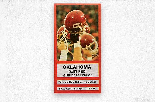 1984 Oklahoma Sooners Football Ticket Wall Art  Metal print