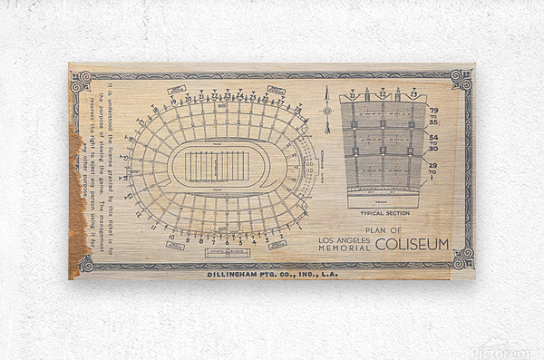 1933 LA Coliseum Map Art  Metal print