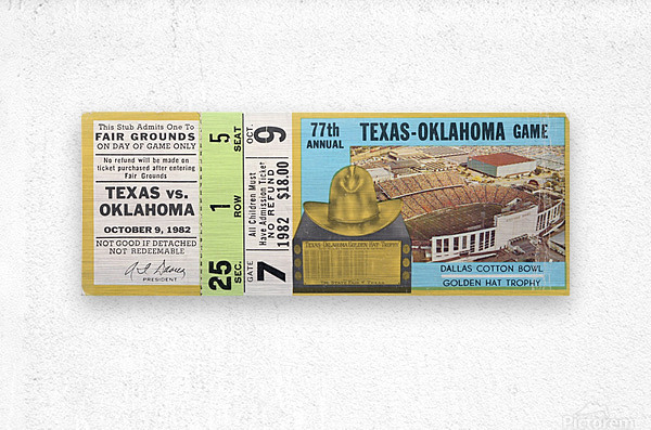 1982 Oklahoma vs. Texas  Metal print