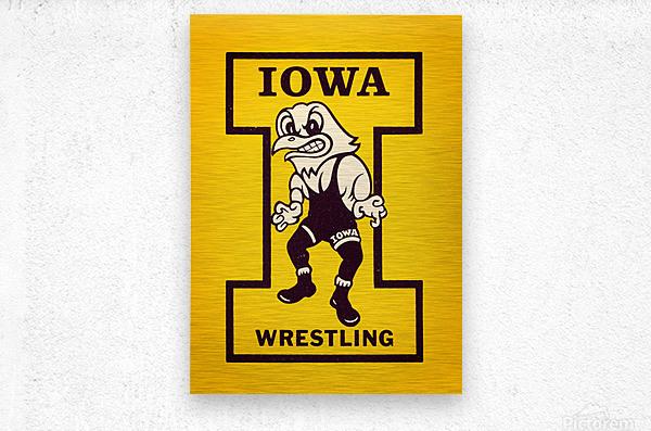 Vintage Iowa Wrestling Art  Metal print