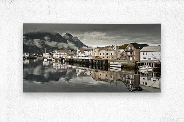 Fishing village, Lofoten, Norway  Metal print