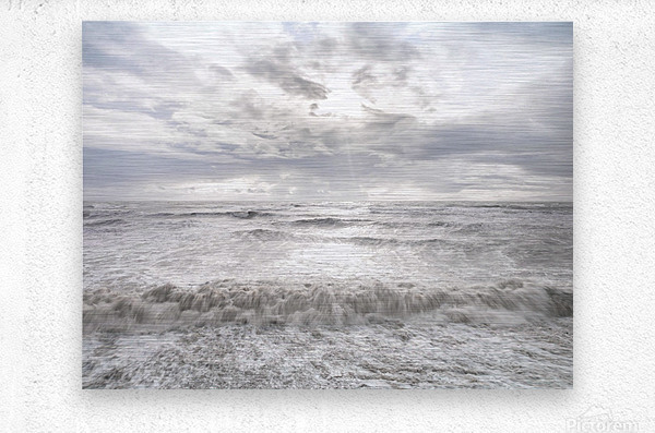Rough and stormy sea at dusk, Charmouth, Dorset, UK  Metal print