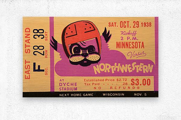 1938 Northwestern vs. Minnesota  Metal print