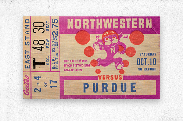 1942 Northwestern vs. Purdue  Metal print