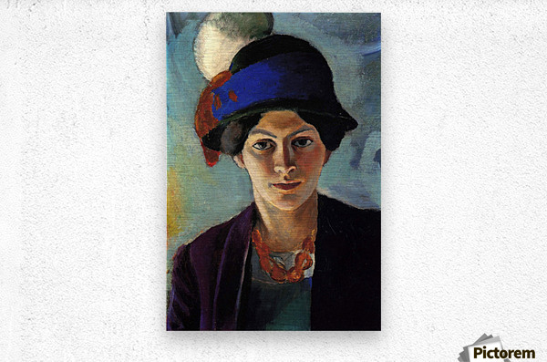 Portrait of the wife of the artist with a hat by Macke  Impression metal