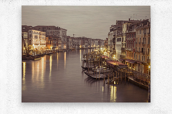 The Grand canal at dusk, Venice, Italy  Metal print