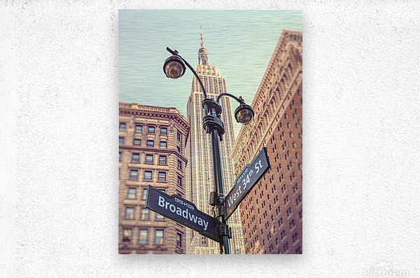 Street lamp and street signs with Empire State building in background - New York  Metal print