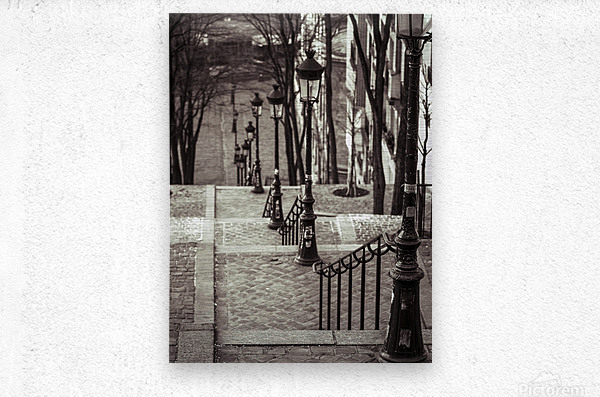 The famous staircase in Montmartre, Paris, France  Metal print