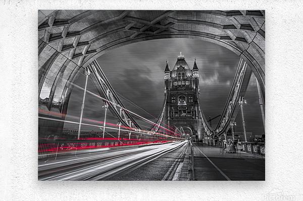 Tower bridge with strip lights, London, UK  Metal print