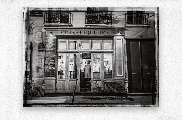 Cafe on street of Montmartre, Paris  Metal print