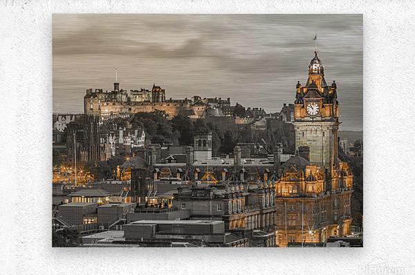 Edinburgh Castle and The Balmoral Hotel, Scotland  Metal print