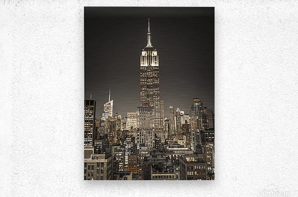 Empire State Building with New York City Manhattan skyline with skyscrapers  Metal print