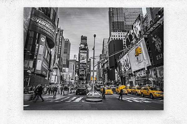 Traffic signal on broadway Times Square,  Manhattan, New York City  Metal print