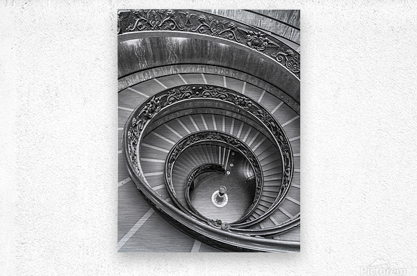 Spiral staircase at the Vatican museum, Rome, Italy  Metal print