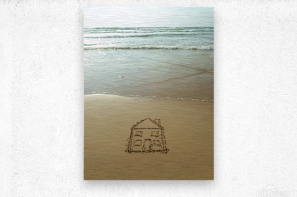 Sweet home drawn on sand at the beach  Metal print