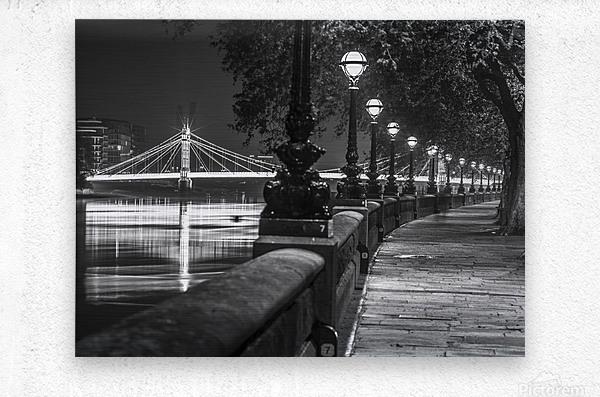 London Riverside Promenade with Albert Bridge  Metal print