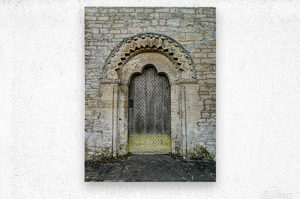 Front door of old cottage in Bibury,  Cotswold, UK  Metal print