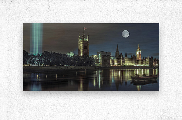 Column of spectra lights with Westminster Abby, London, UK  Impression metal