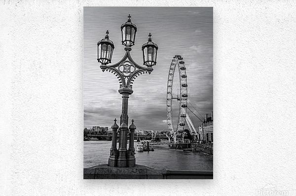 Street lamp with London Eye, London, UK  Metal print