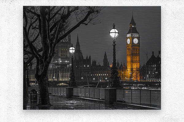 London cityscape in evening from Thames promenade  Metal print
