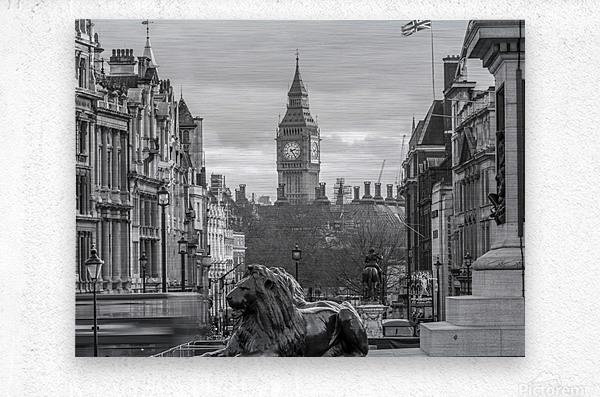 Trafalgar Square with Big Ben in background  Metal print