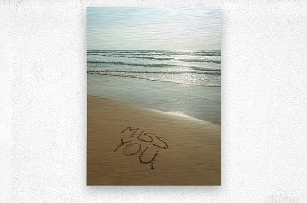 Miss You written on the beach  Metal print