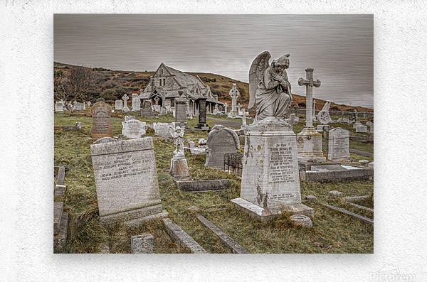 Cemetery in Llandudno, North Wales  Metal print