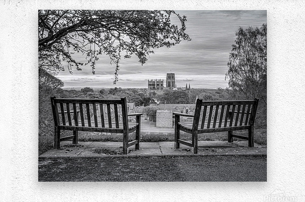 Park benches with Durham Cathedral in background  Metal print