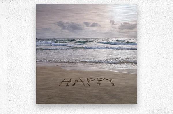 Sand writing - Word Happy written on beach  Metal print