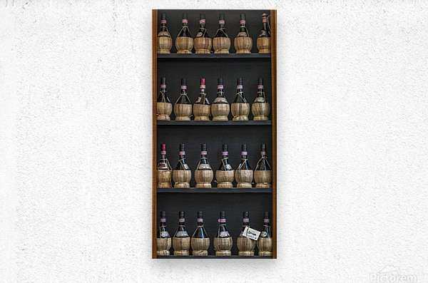Old wine bottles on wooden shelf  Metal print