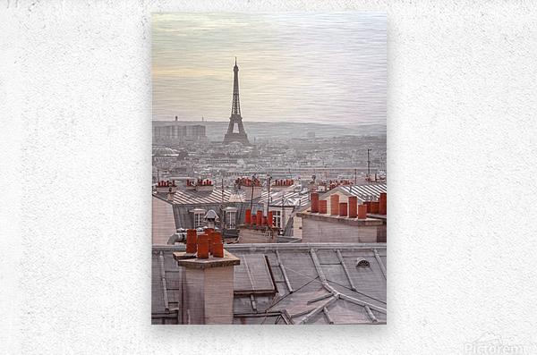 Eiffel Tower seen through the window of an apartment in Montmartre, Paris, France  Metal print