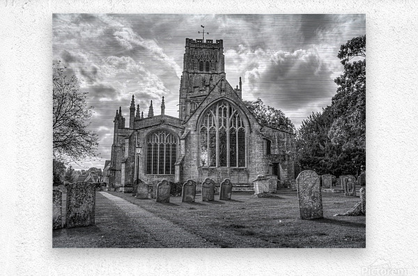 Old church in Northleach town, Cotswolds, UK  Metal print