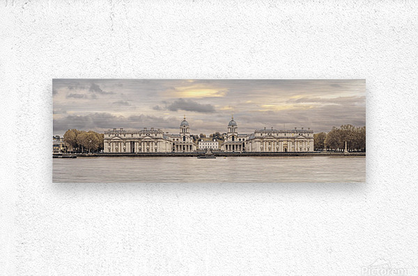Royal Naval College at Greenwich with a view from the River Thames  Metal print