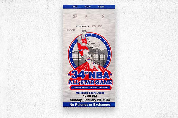 1984 NBA All-Star Game Ticket  Metal print