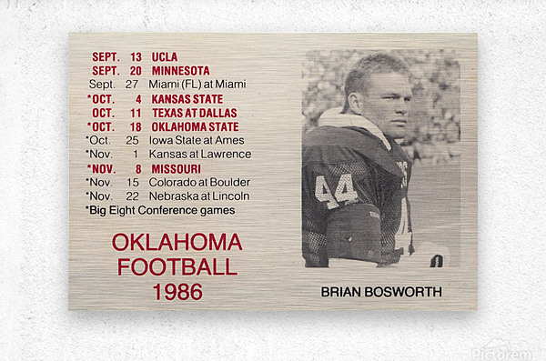 1986 Oklahoma Football Brian Bosworth  Metal print