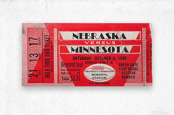 1940 Nebraska vs. Minnesota  Metal print