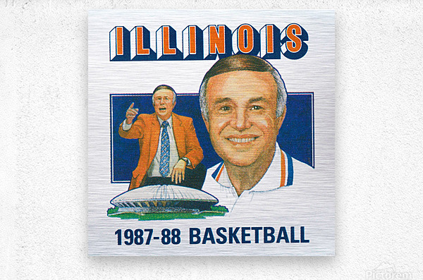1987 Illinois Basketball Lou Henson  Metal print
