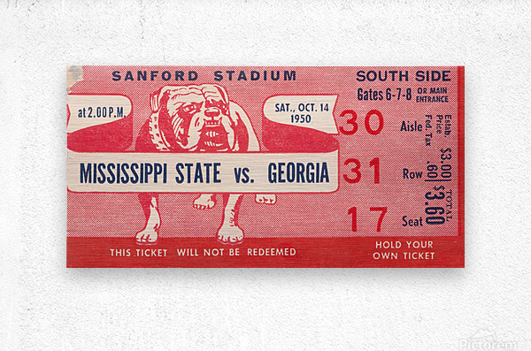 1950 Mississippi State vs. Georgia  Metal print