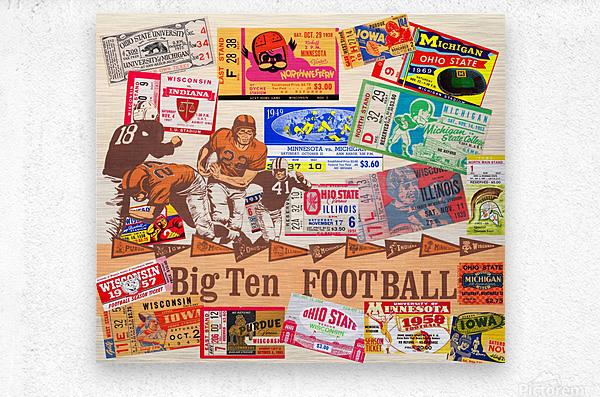 Big Ten Football Ticket Stub Collage  Metal print