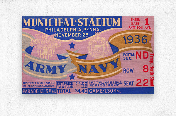 1936 Army Navy Game  Metal print