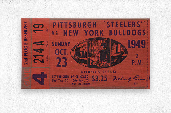 1949 Pittsburgh Steelers vs. New York Bulldogs  Metal print