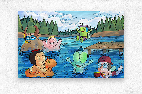Summer Camp - at the lake - Bugville Critters  Metal print