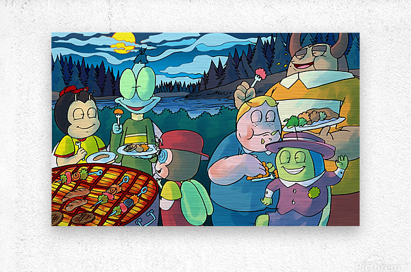 Summer Camp - Cookout - Bugville Critters  Metal print