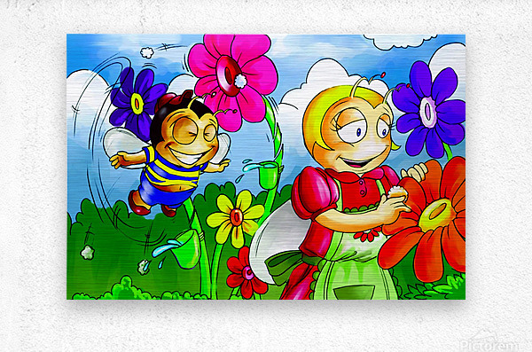 Mother Bee at Work - Bugville Critters  Metal print