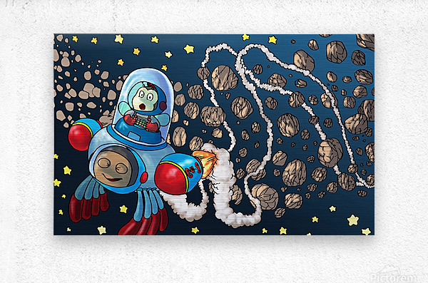Buzzing Around the Solar System  Metal print