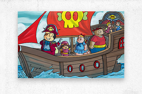 Pirate Ship on the High Seas - Bugville Critters  Metal print